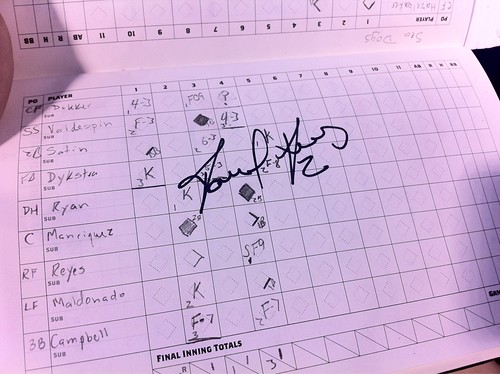 Got Raul Reyes to sign our scorecard before the game. #bmets #mets | by Julie Rubes