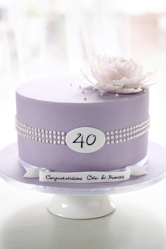 Tiffany pearl inspired anniversary cake | by Bake-a-boo Cakes NZ