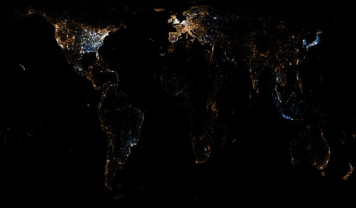 World map of Flickr and Twitter locations | by Eric Fischer