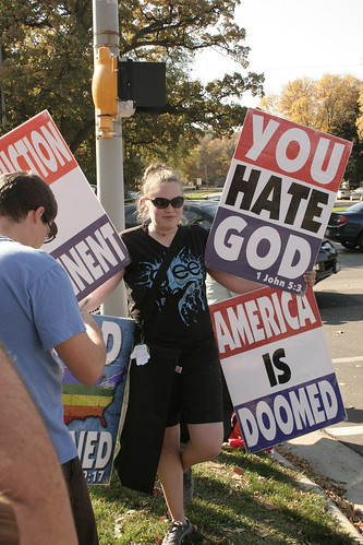 Why yes, this member of the Westboro Baptist Church is wearing a Glee shirt | by cometstarmoon