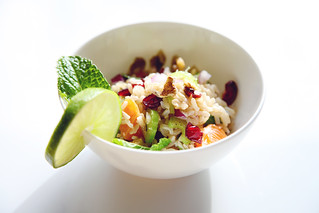 Brown Rice Bowl with cranberries, walnuts, orange and mint | by The 10 cent designer