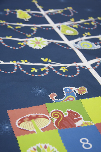 Winner of the Advent Calendar Fabric of the Week Contest: Festive Forest Tree Decorating - Advent Calendar by kayajoy | by Spoonflower Fabrics