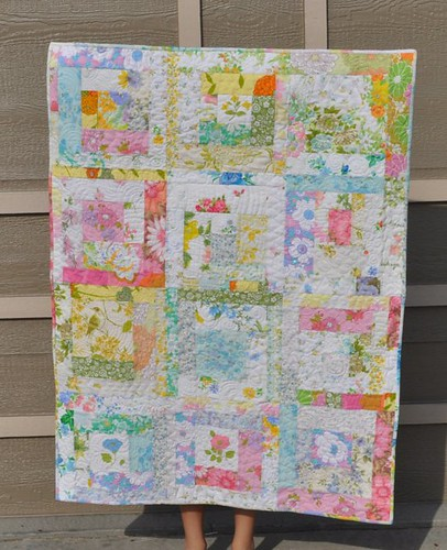 vintage sheet log cabin quilt | by vickivictoria