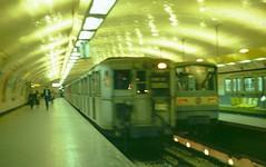 RATP, Paris - old and new Metro trains at Pont de Sevres, Ligne 9, in 1982