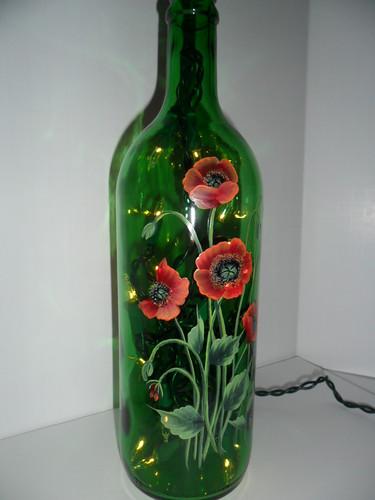 Poppy Lighted Wine Bottle Hand Painted 750 Ml I Love Light Flickr
