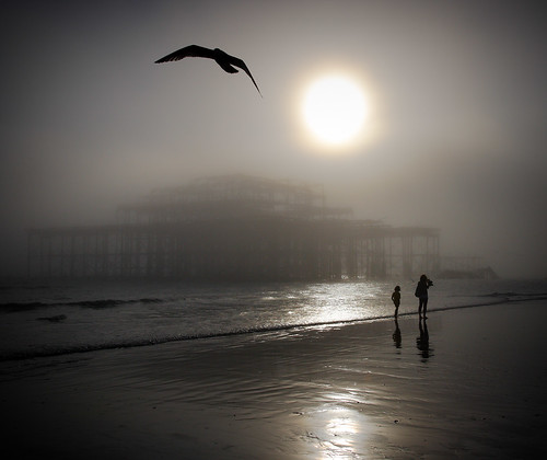Brighton Beach - Low Tide and Sea Fog