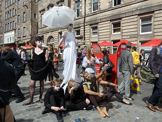 Street performance on the Royal Mile during the Festival in Edinburgh