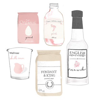 Rose Macaroon Ingredients. | by Clare Owen Illustration