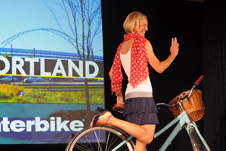 Interbike Fashion Show, Susi Wunsch of VeloJoy, Dress by Nona Varnado | by Lovely Bicycle!
