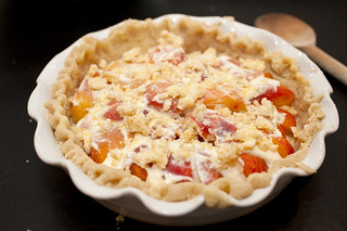 peach creme fraiche pie with a thyme butter crust | by sassyradish