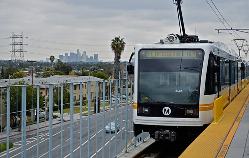Expo Line, L.A. skyline