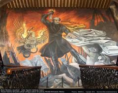 """Mural """"Morelos y la justicia"""".   Autor """"Agustín Cárdenas Castro"""". """"Museo histórico del poder judicial"""" (Antiguo palacio de justicia), Morelia Michoacán, México."""