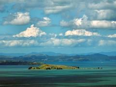Sky Tower View. Browns Island - Motukorea, Hauraki Gulf, Auckland, New Zealand