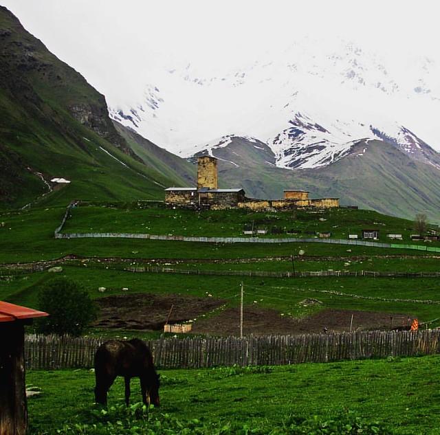 The great Shkhara behind Lamaria church. #svaneti #ushguli #georgia #travel #mountains #caucasusmountains #lifeofadventure #livefolk #folkmagazine #visualsgang #mobilemag #adventure #discoverearth #waitingontheworld #countryside #film #filmphotography #ph