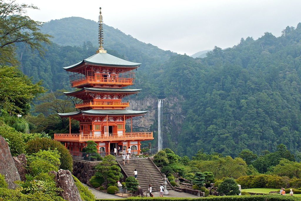 Forest, waterfalls and pagoda 那智勝浦寺と滝