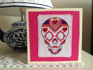 Cross stitch sugar skull card | by megs.x