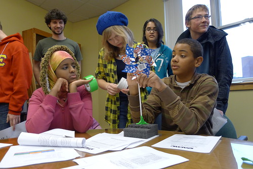 Middle school students participating in the Inventing a Floating Wind Platform Activity | by DeepCwind