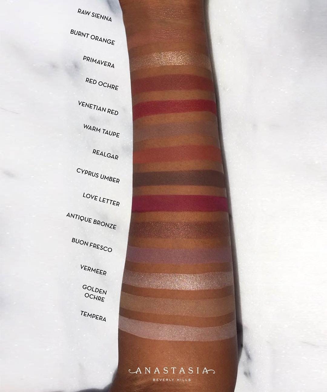 Anastasia Beverly Hills Modern Renaissance Palette Swatches on Dark Skin