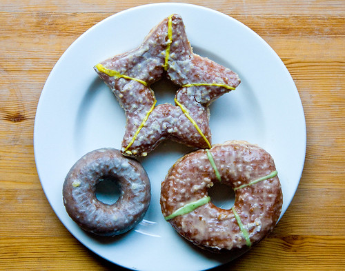 Holiday donuts (marzipan, spiced pear, and gingerbread), the Doughnut Plant | by gsz