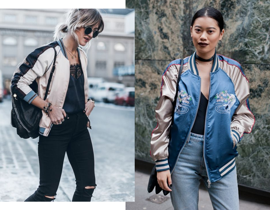 how-to-wear-satin-embroidered-bomber-jacket-outfit-ideas