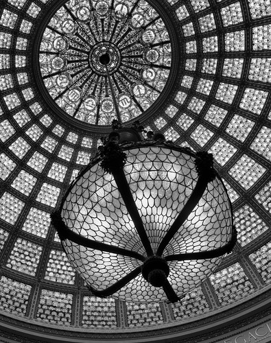 Chicago Cultural Center Chandelier and Tiffany Dome Black and White | by Chris Smith/Out of Chicago