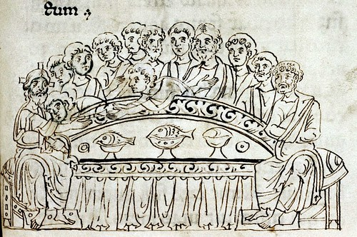Last Supper. drawingg. Italian 11th cent. detail. Bodl_Canon.Bibl.Lat.61 | by tony harrison