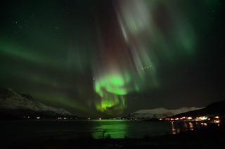 Aurora Borealis- Straumsfjord and Bentsjordtind   ( Explore ) | by John A.Hemmingsen