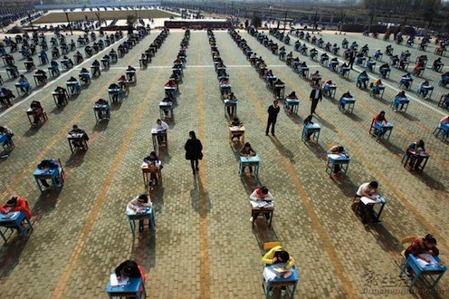 Exam outside in China