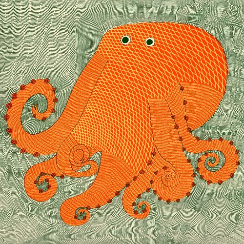 Octopus (detail) by Rambharos Jha (in 'Waterlife' pub. by Tara Books, Chennai, India) | by peacay