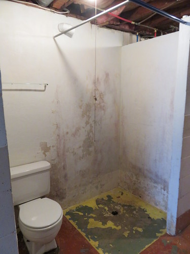 old lower level bathroom