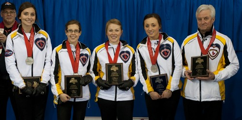 Napanee, ON Feb 11 2011 M&M Canadian Juniors Team Manitoba, Wins the Silver Medal. Left to right Shannon Birchard, Selena Kaatz, Kristin MacCuish, Mariah Mondor, Lance Wadelius Michael Burns Photo Ltd. | by seasonofchampions