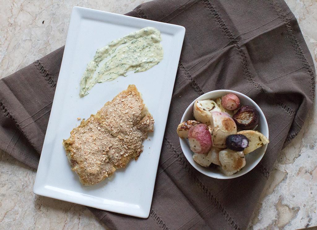 Fish with Dijon Dill Pretzel Crust