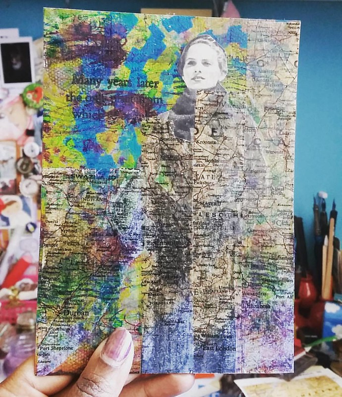 Experimenting with packing tape transfer today #mixedmediaartist #mixedmediaart #mixedmedia #mailartists #mailart #colorful #vintageimages #stencil #stencilgirlproducts #paperartsy #rubberstamps #paint #layers #swapbot