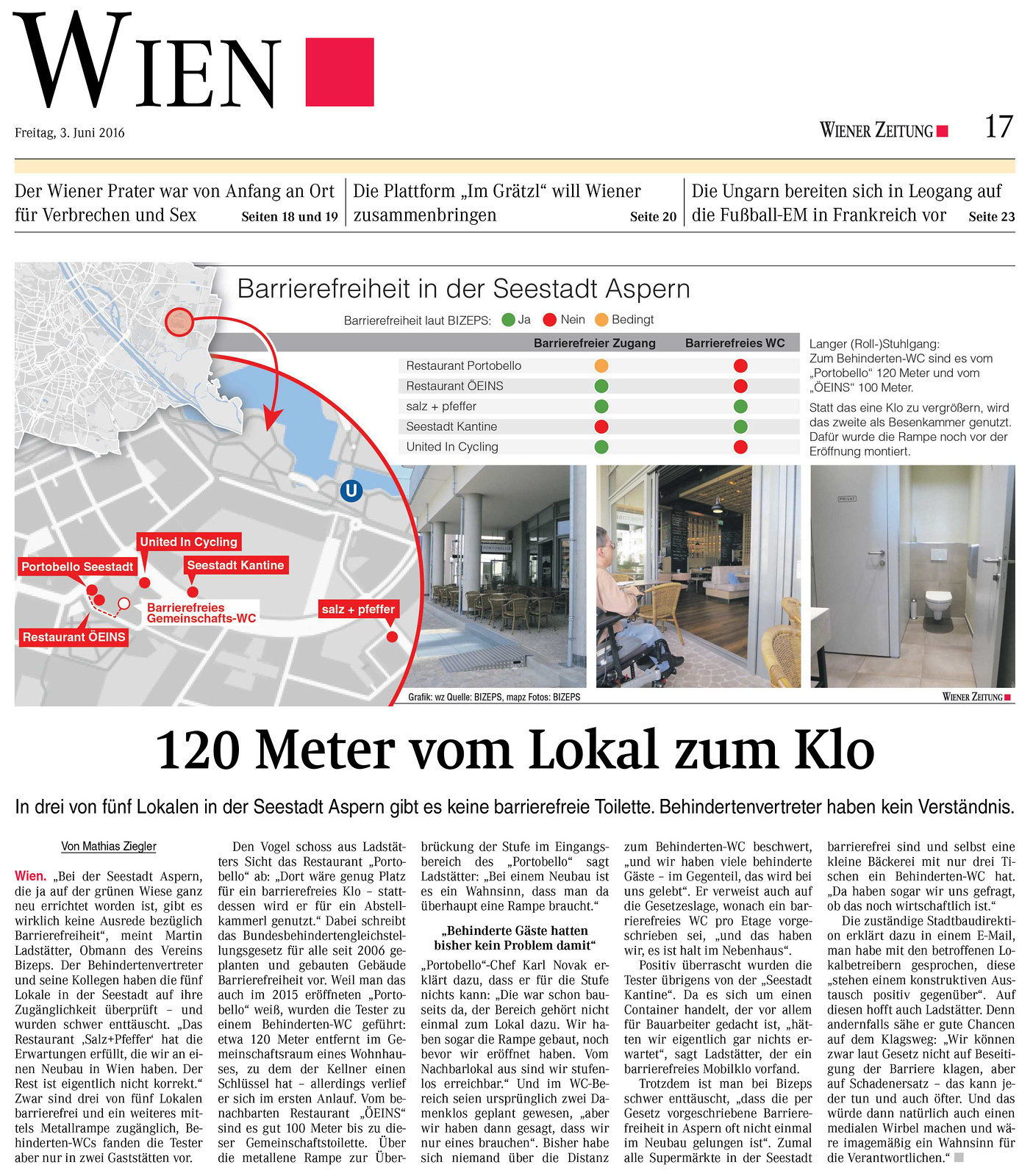 Wiener Zeitung: 120 Meter vom Lokal zum Klo