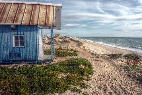 Praia de Faro wonky beach hut