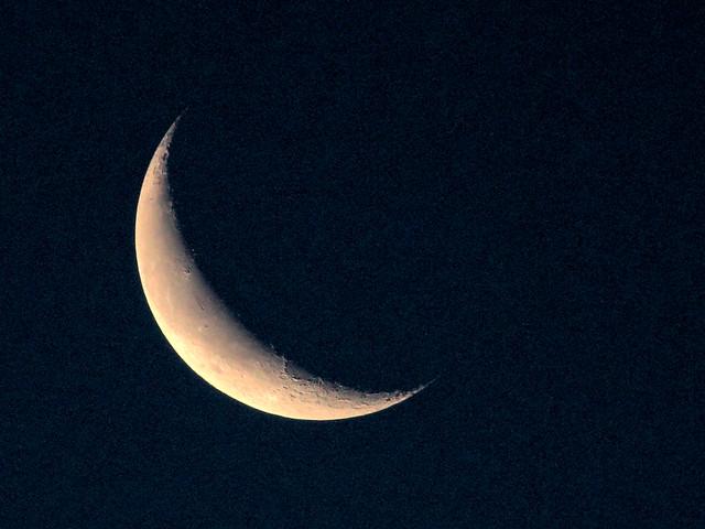 Waning crescent Moon HDR 20160601