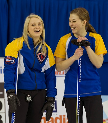 Napanee, ON Feb 11 2011 M&M Canadian Juniors AB Skip Jocelyn Peterman with Second Rebecca Konschuh. Michael Burns Photo Ltd. | by seasonofchampions