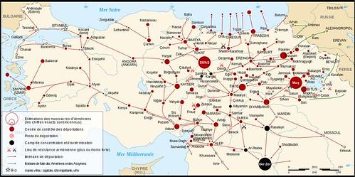 Genocidio armeno.Mappa flussi deportazione etc.