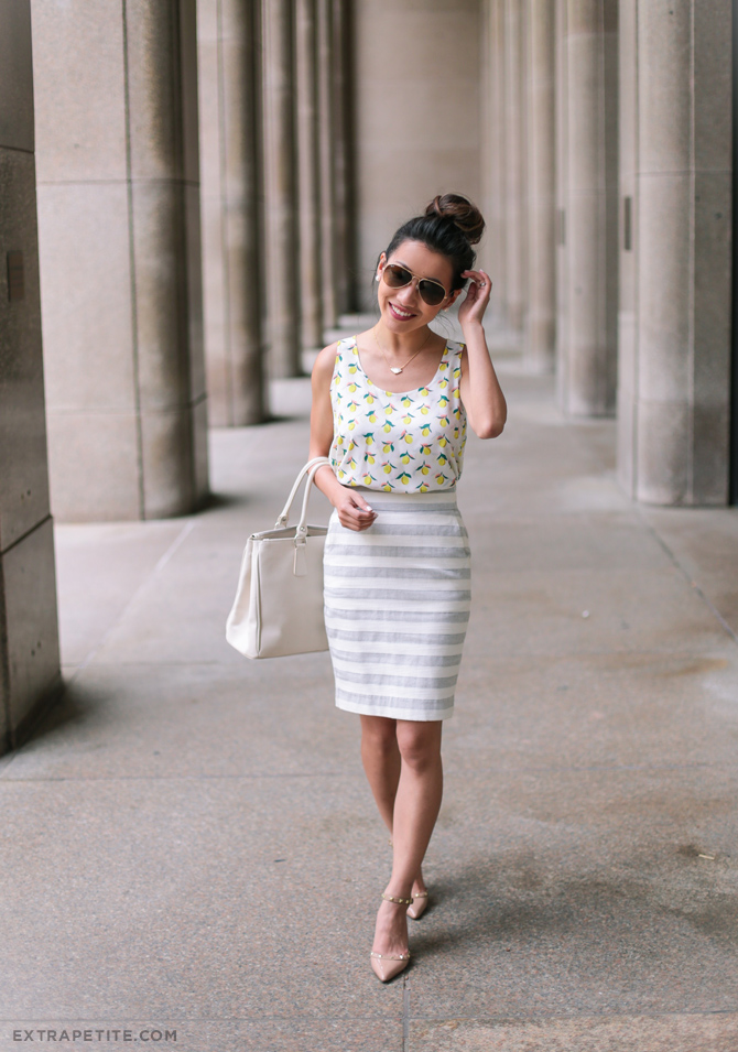 summer work outfit lemon print striped pencil skirt