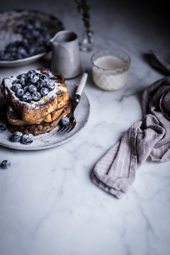 Brioche French Toast topped with blueberries and sugar infused with lavender and lemon on Local Milk Blog