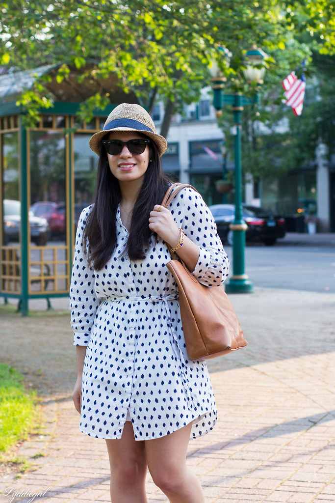 polka dot dress, straw fedora, blue sandals-3.jpg