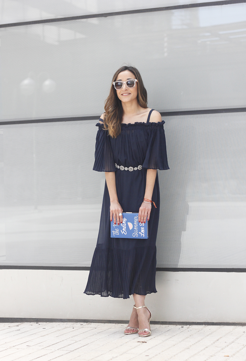 A Midi Dress With Pleated Ruffles heels clutch accessories sunnies fashion outfit summer07