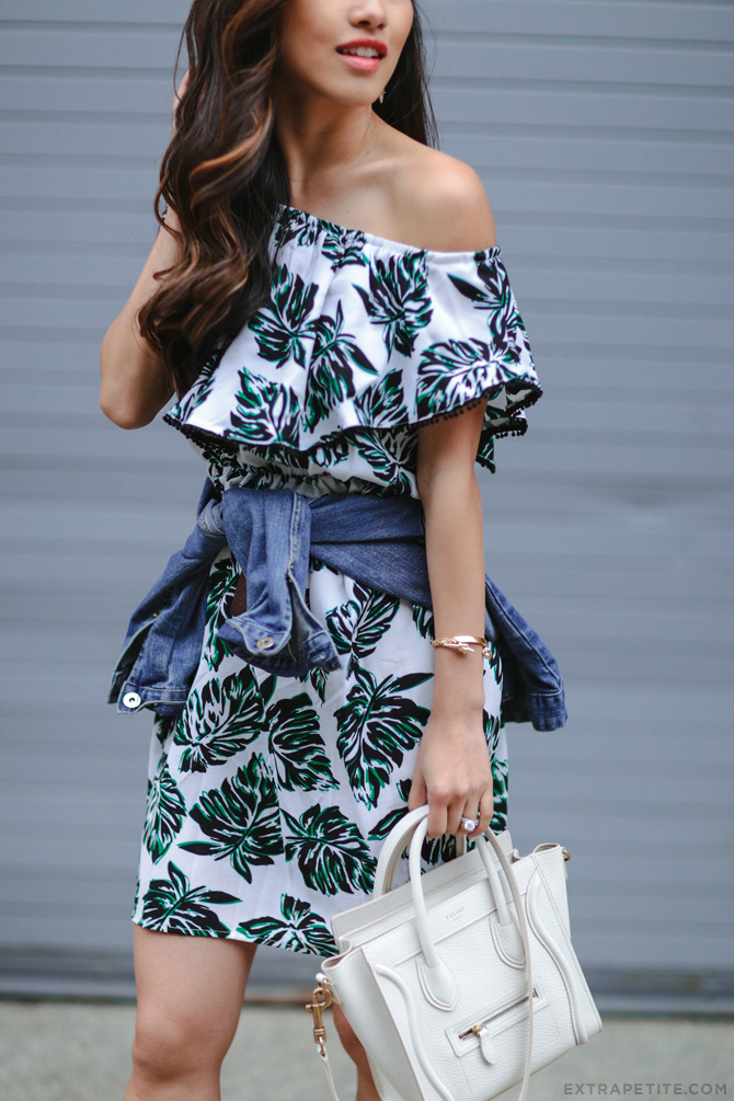 palm leaf print off shoulder dress celine luggage white_summer outfit