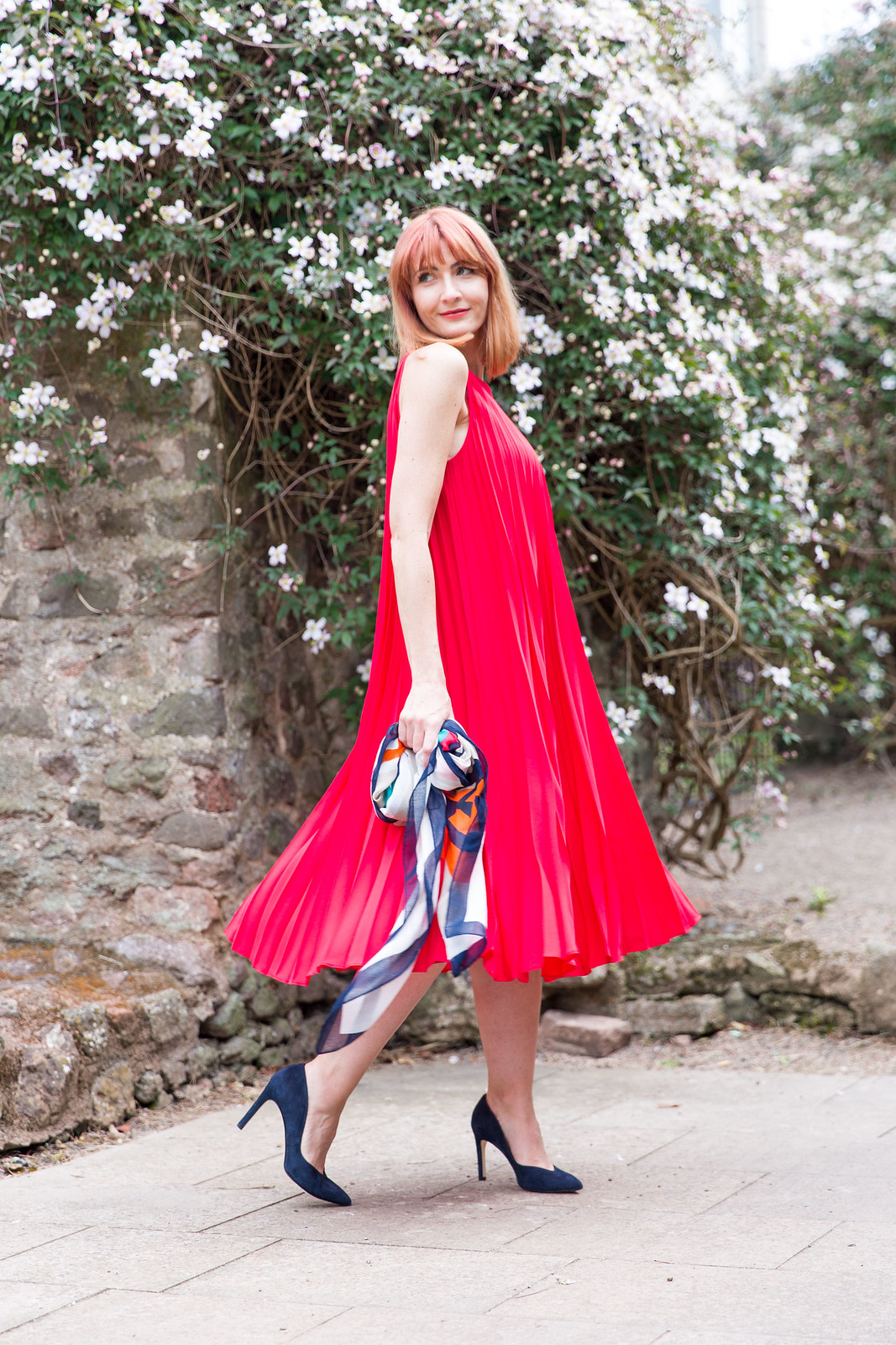 Hobbs SS16: Red pleated maxi dress | Not Dressed As Lamb (photo: Kate Forster)