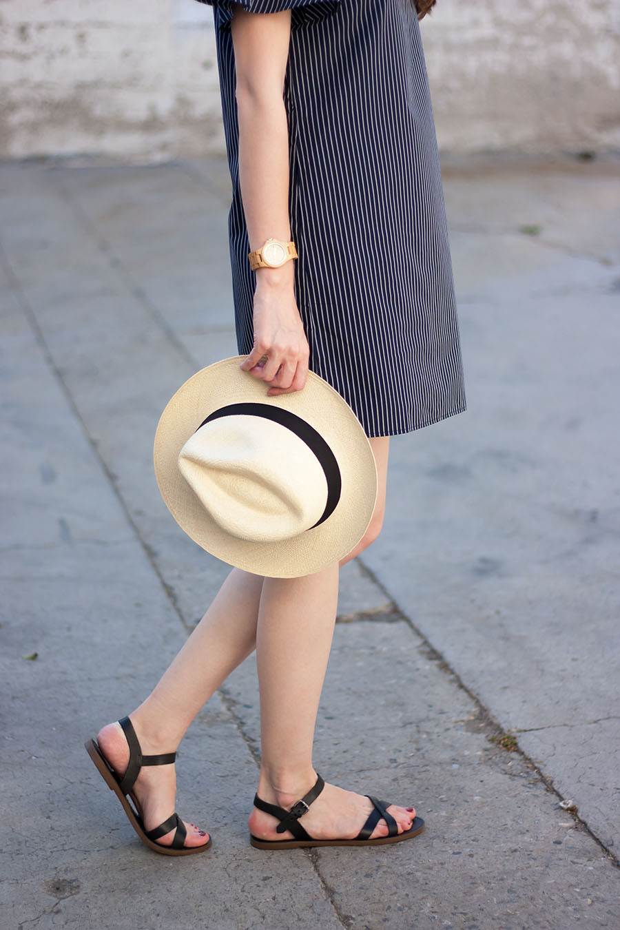 Panama Hat, Jord Watch, Madewell Criss Cross Sandals, Banana Republic