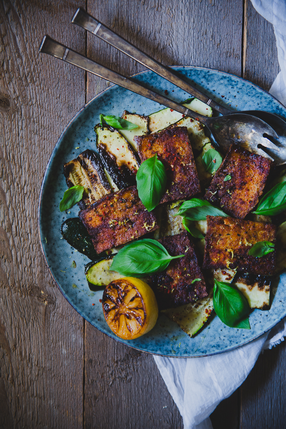 Zucchini & Tofu Caprese with Grilled Lemon | Cashew Kitchen