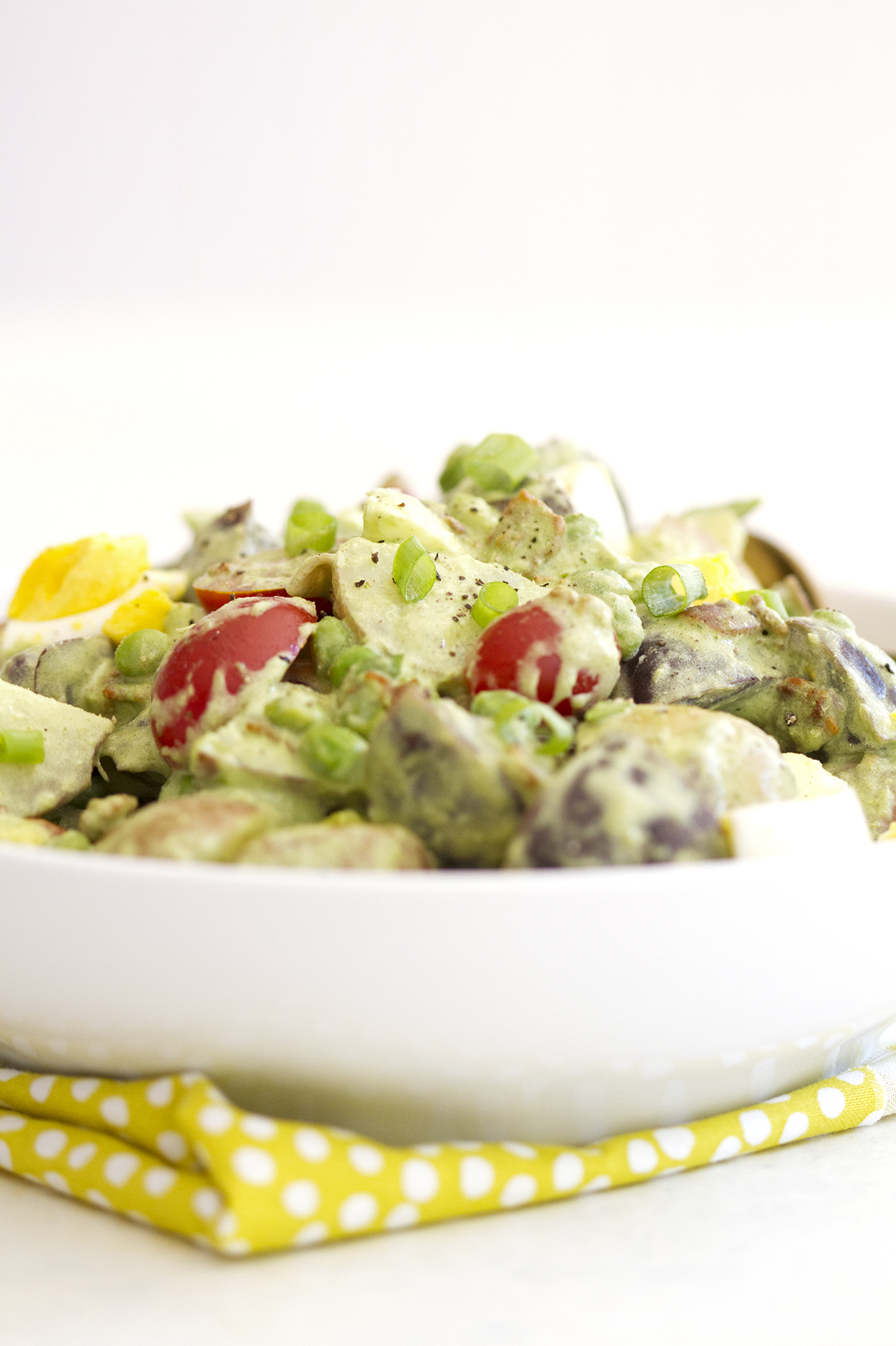 Green Goddess Potato Salad with Bacon and Peas | girlversusdough.com @girlversusdough