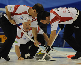 Basel Switzerland.April7_2012.Men's World Curling Championship.Canadian 2nd.Brent Laing,lead Craig Savill.skip Glenn Howard.CCA/michael burns photo | by seasonofchampions