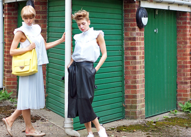 Full Length, Frilled Blouse, Yoke, Piecrust Collar, H&M, How to Wear, SS16, Outfit Ideas, Styling Inspiration, UK Fashion Blog, London Style Blogger, Sam Muses, Dorothy Perkins, Pleated Midi Skirt, Pastel Blue, Yellow Bag, Marks & Spencer, M&S, Backless Loafers, New Look, Nude, Leather Wrap Midi Skirt, Dupe, D-Ring, Faux, White Trainers, Faux Hawk, Undercut