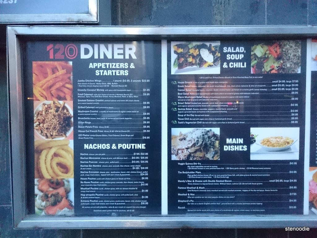 120 Diner menu
